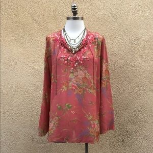 CAbi Boho Embroidered Sheer Silk Peasant Blouse XL
